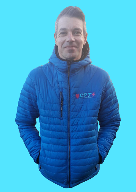 Richard Rollinson models the CPT Cycling embroidered winter down jacket.
