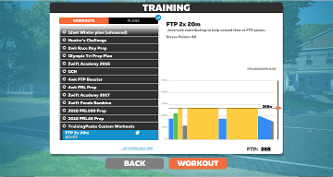 Workout steps from a CPT Cycling training plan, that has been uploaded to Zwift.