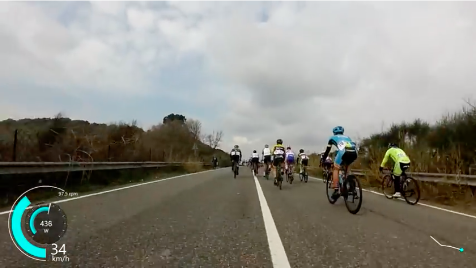 On board footage from a cycle race used to analyse tactics.