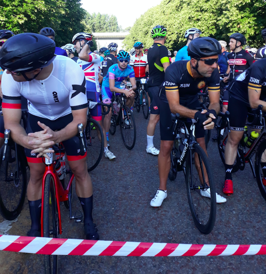 Coach Richard Rollinson on the start line of the Velothon cycling gran fondo.