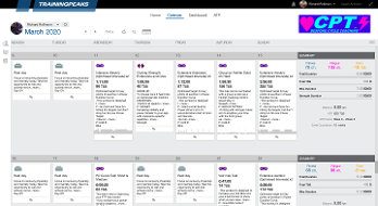 An example of a CPT Cycling training plan, constructed in TrainingPeaks.