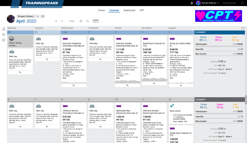 An example of a CPT Cycling constructed training plan, posted in TrainingPeaks.
