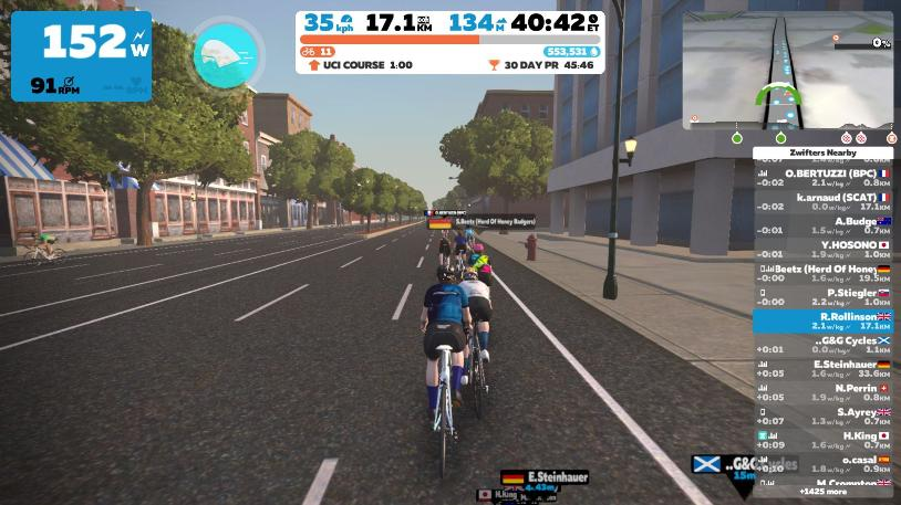 A screenshot of a cyclist riding on Zwift while self isolating during the covid pandemic.